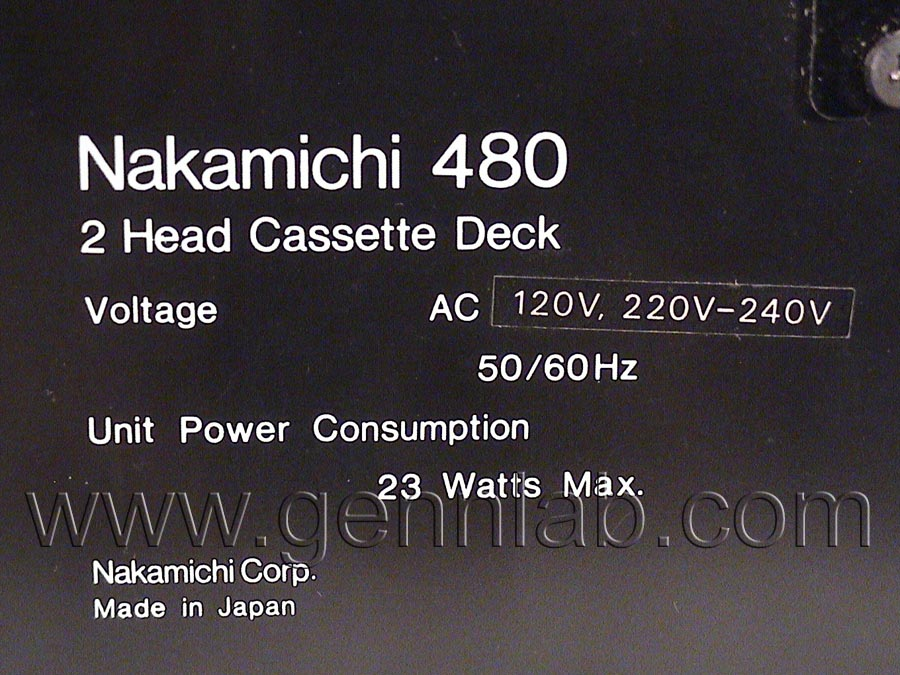 NAKAMICHI 480 Label