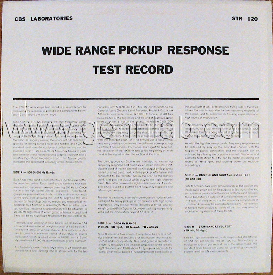 CBS LABORATORIES STR120 Wide Range Pickup Test(10_50000Hz) cover. Rear Side