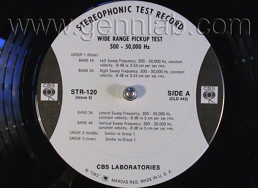 CBS LABORATORIES STR120 Wide Range Pickup Test (10_50000Hz) label. Side A