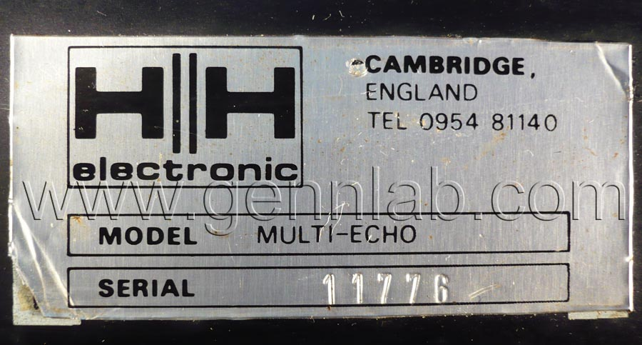 HH Tape Reverb Rear Panel Factory Label