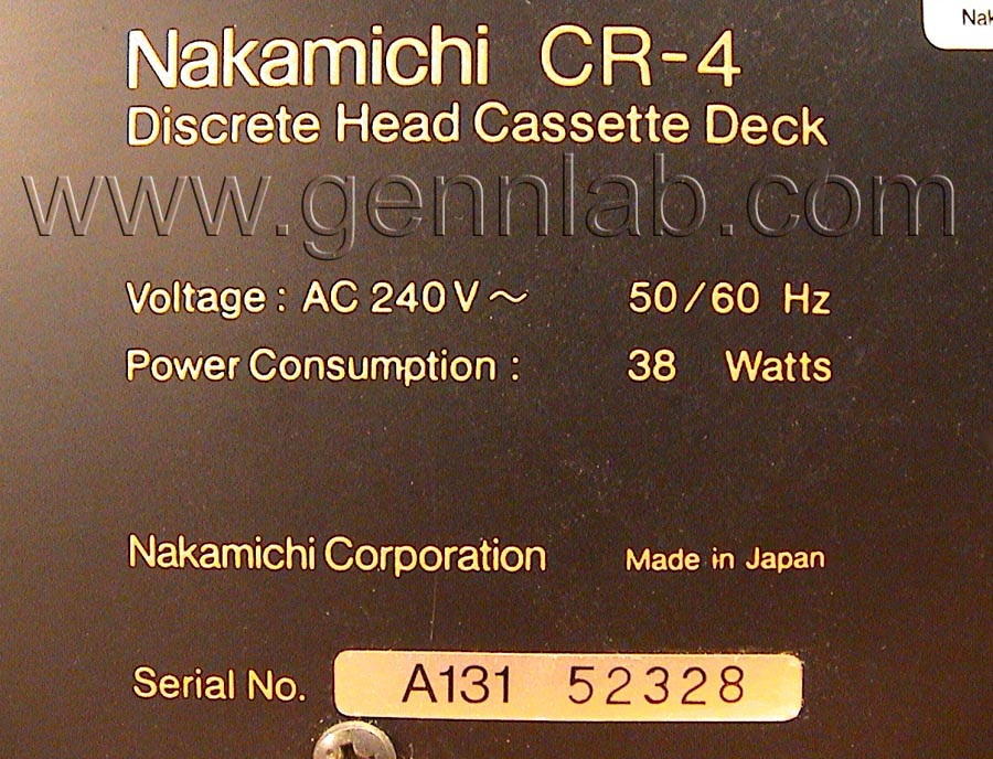 Nakamichi CR4 Label