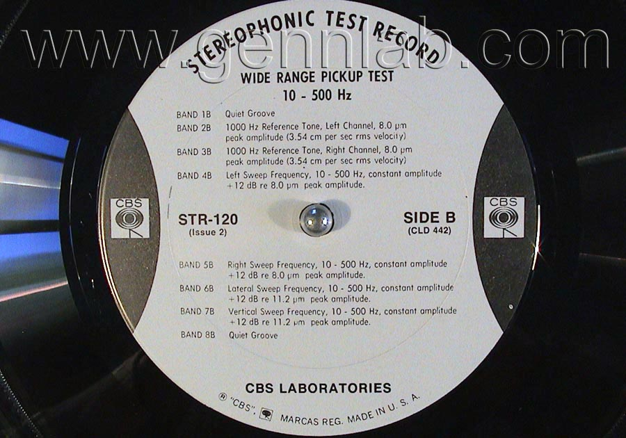 CBS LABORATORIES STR120 Wide Range Pickup Test (10_50000Hz) label. Side B