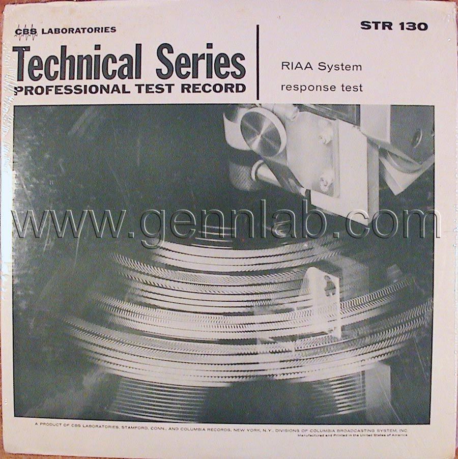 CBS LABORATORIES STR130 RIAA SystemTest cover. Front Side