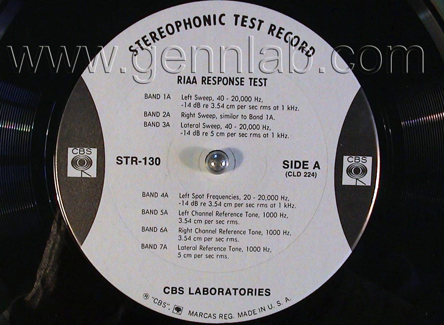 CBS LABORATORIES STR130 RIAA System Test label.Side A