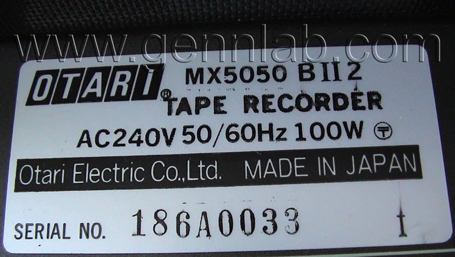 OTARI MX-5050B2 Label
