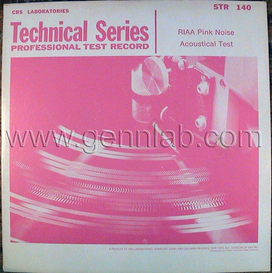 CBS LABORATORIES STR140 RIAA Pink Noise Acoustical Test cover. Front Side