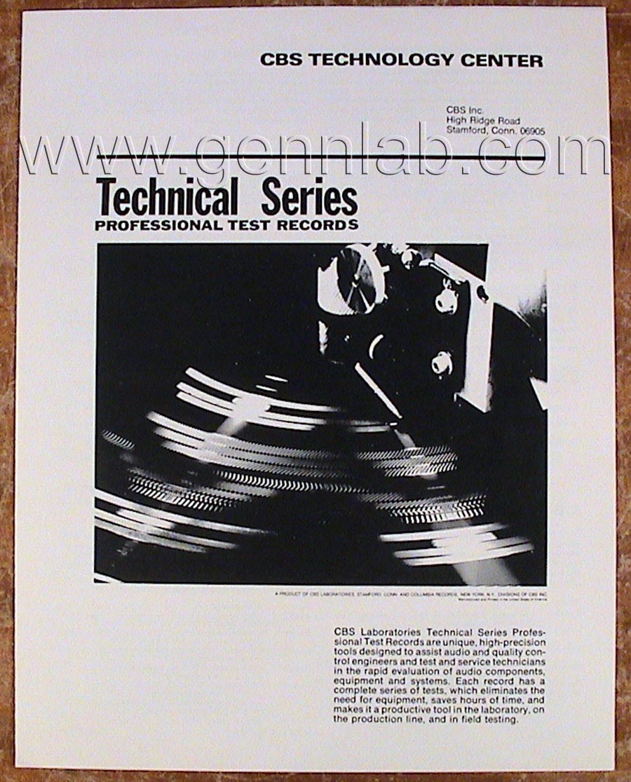 CBS TECHNOLOGY CENTER. Technical Series PROFESSIONAL TEST RECORDS