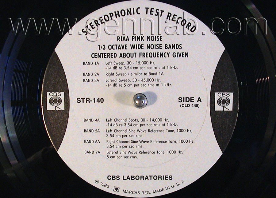 CBS LABORATORIES STR140 RIAA Pink Noise Acoustical Test label.Side A