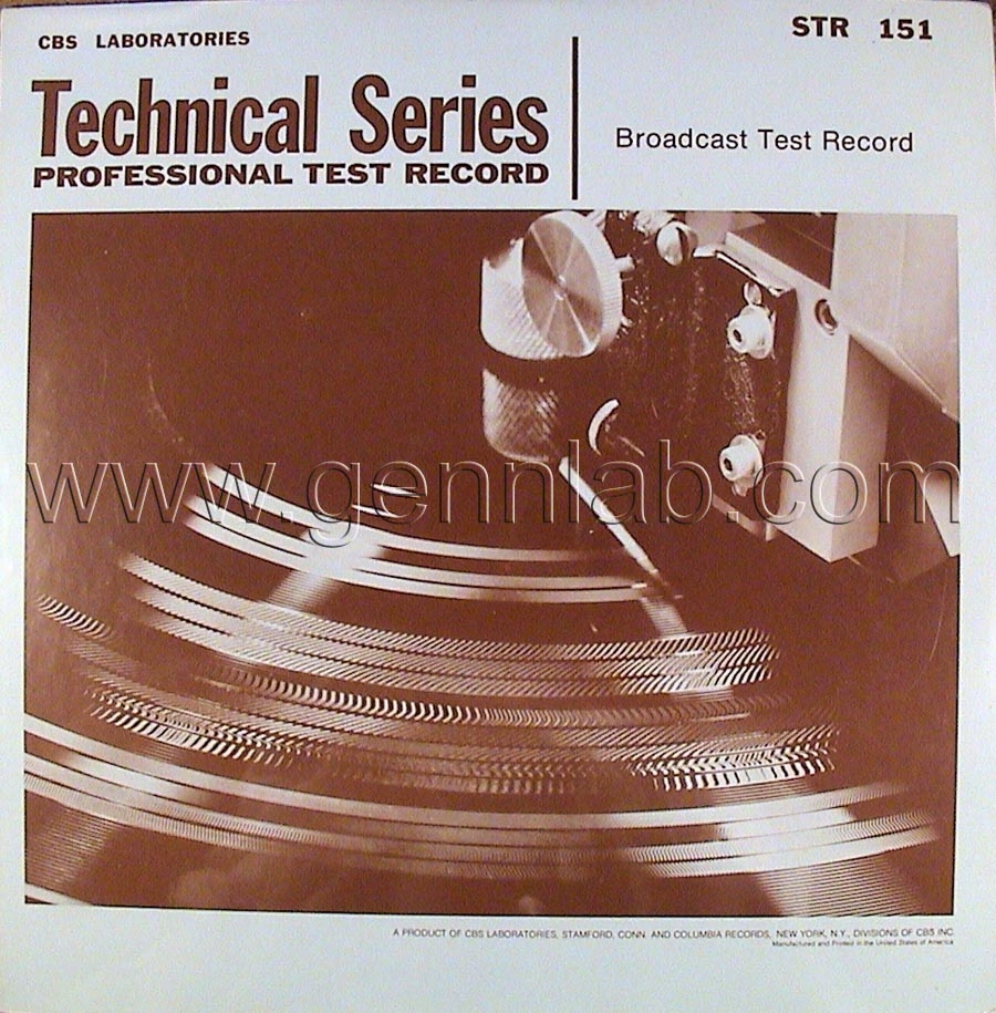 CBS LABORATORIES STR151 Broadcast Test Record cover. Front Side