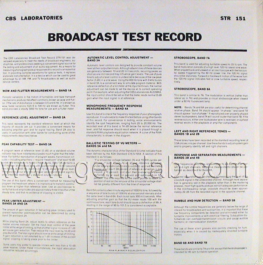 CBS LABORATORIES STR151 Broadcast Test Record cover.Rear Side