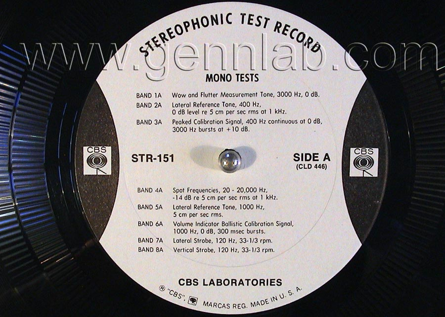 CBS LABORATORIES STR151 Broadcast TestRecord label.Side A