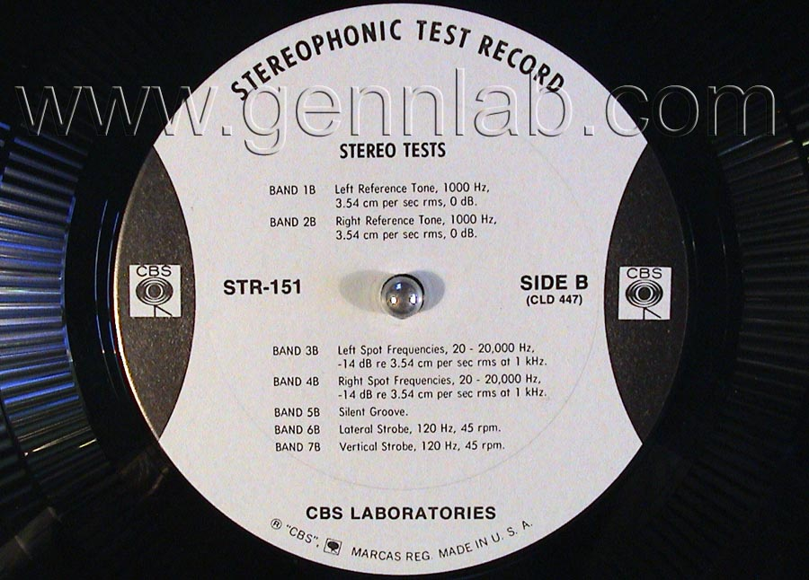 CBS LABORATORIES STR151 Broadcast Test Record label.Side B