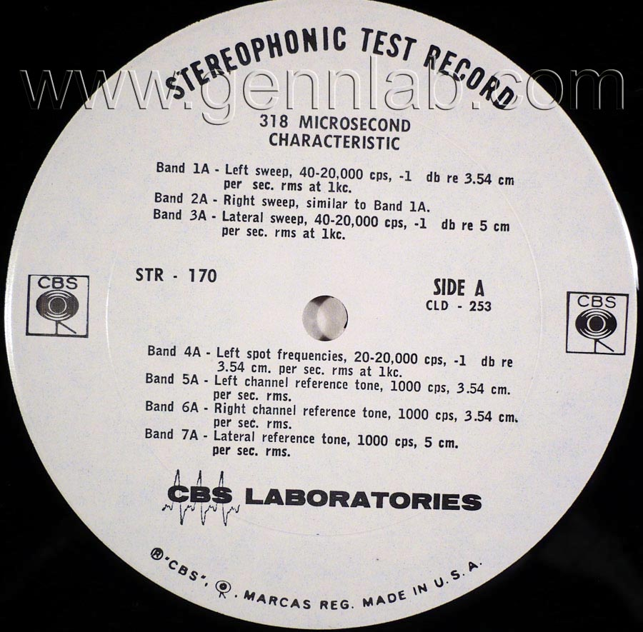 CBS LABORATORIES STR170 318 MICROSECOND CHARACTERISTIC label.Side A