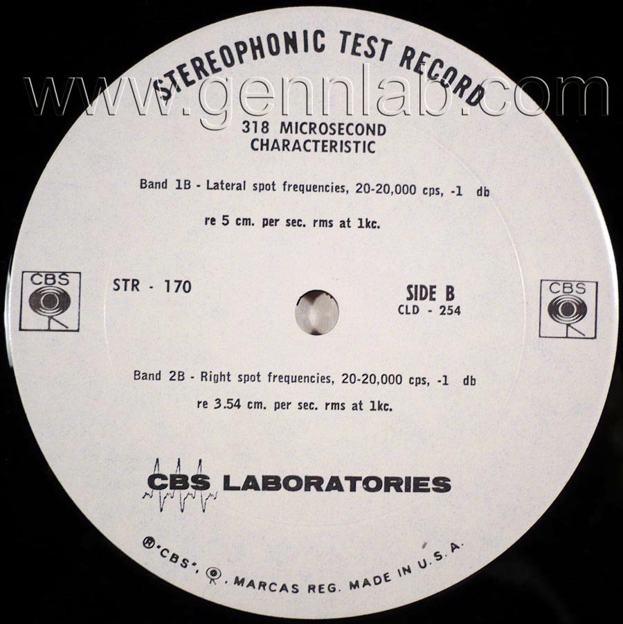 CBS LABORATORIES STR170 318 MICROSECOND CHARACTERISTIC label. Side B