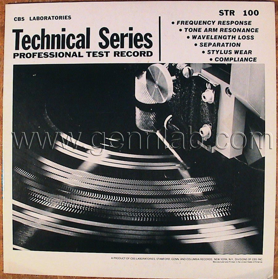 CBS LABORATORIES STR100 cover. Front Side