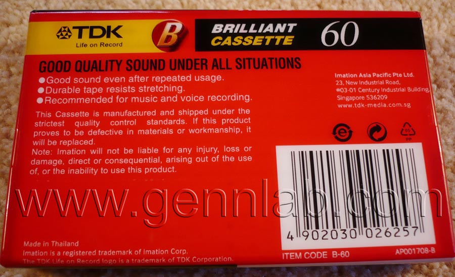 TDK B60. Thailand. Sealed. Rear label.
