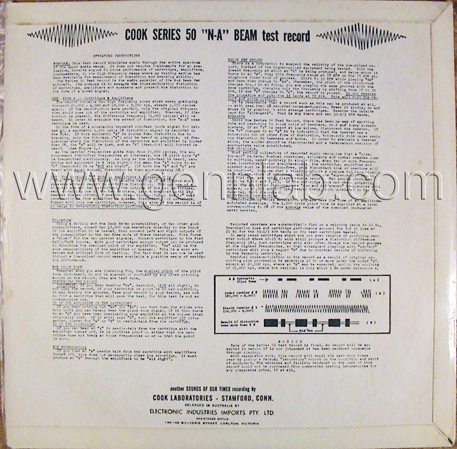 COOK series 50 'N-A' BEAM 33 1/3 and 78 rpm Test Record cover. Rear Side