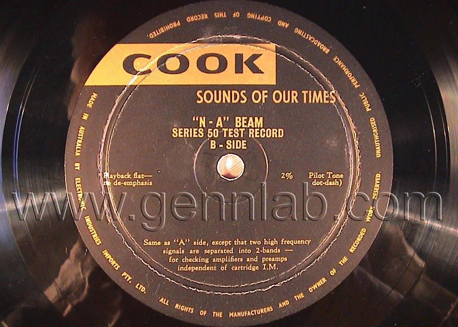 COOK series 50 'N-A' BEAM 33 1/3 and 78 rpm Test Record label. Side B