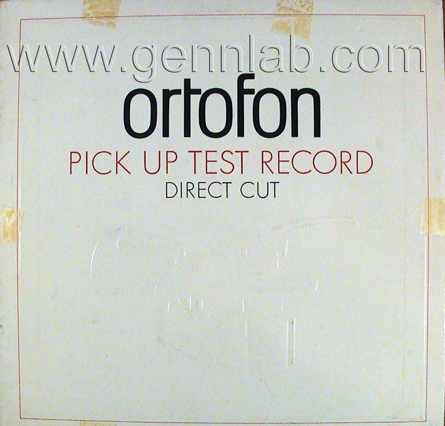 ortofon PICK UP TEST RECORD. DIRECT CUT. Cover Front Side
