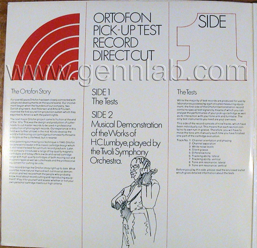 ortofon PICK UP TEST RECORD. DIRECT CUT. Cover Inside 1