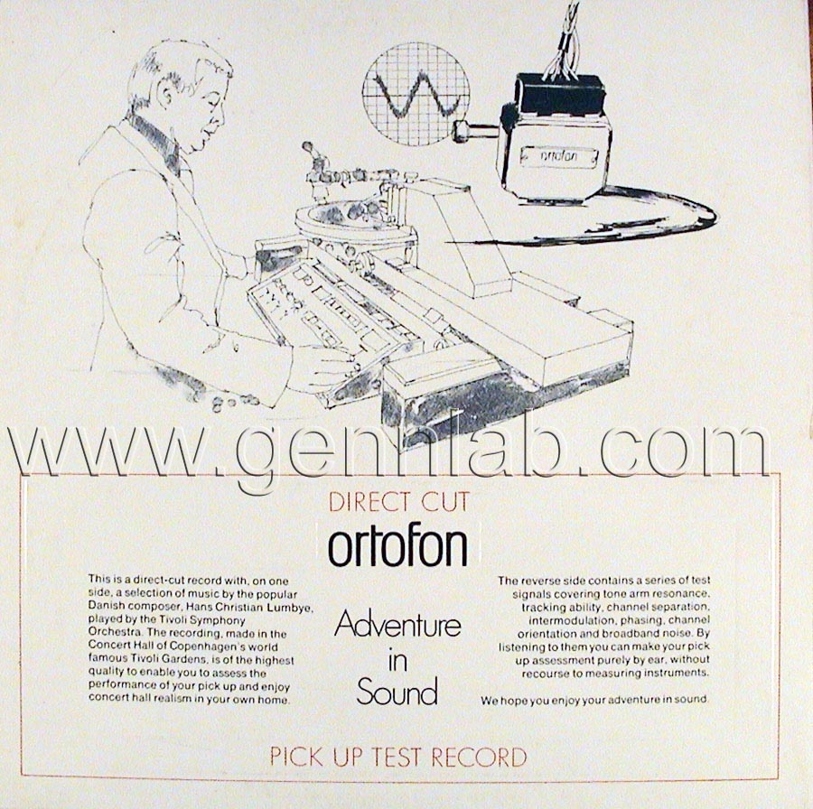 ortofon PICK UP TEST RECORD. DIRECT CUT. Cover Rear Side