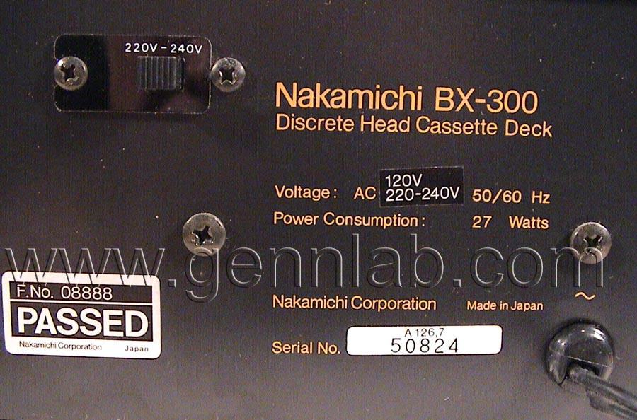 Nakamichi BX-300 Serial Number