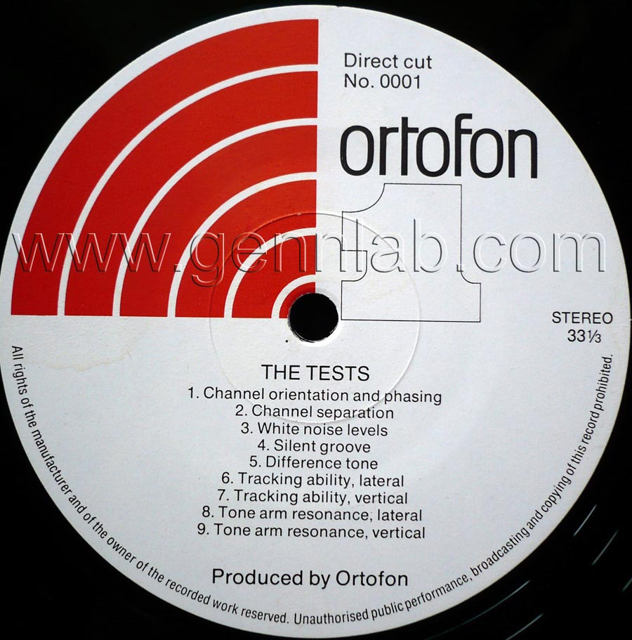 ortofon PICK UP TEST RECORD. DIRECT CUT. Label Side 1