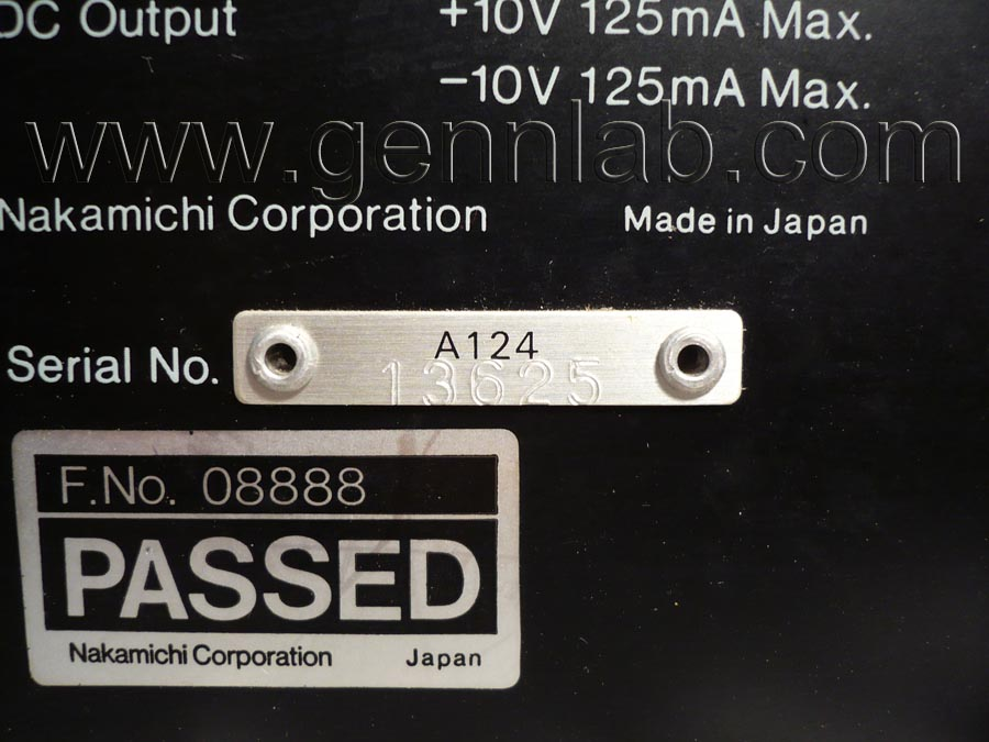 Nakamichi ZX-7. Serial Number