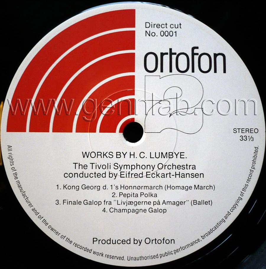 ortofon PICK UP TEST RECORD. DIRECT CUT. Label Side 2