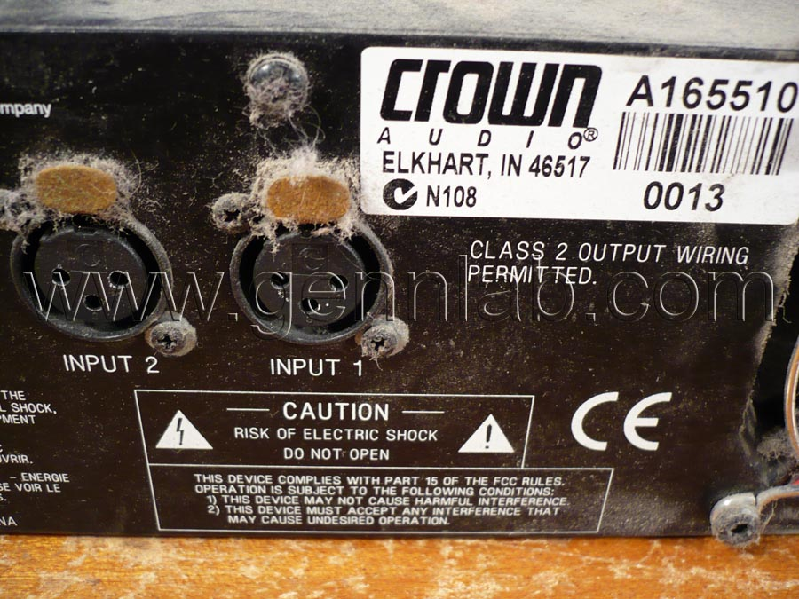 CROWN XLS402 Power Amplifier. Factory label.