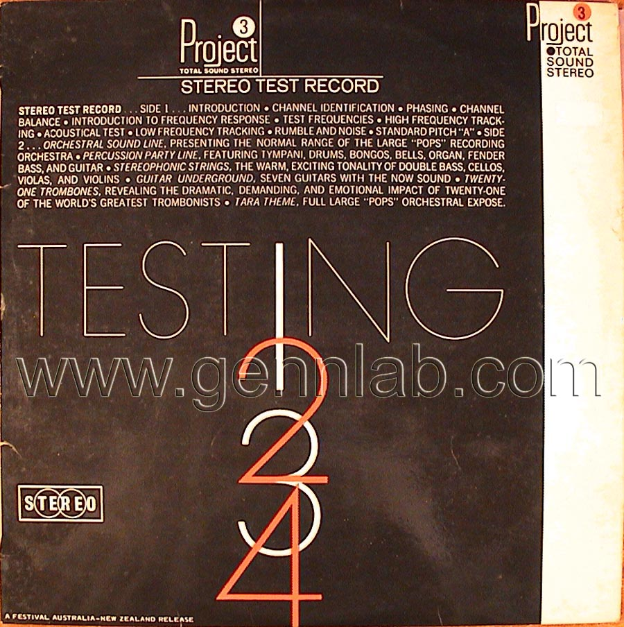 Project 3 TESTING 1-2-3-4 STEREO TEST RECORD cover. Front Side