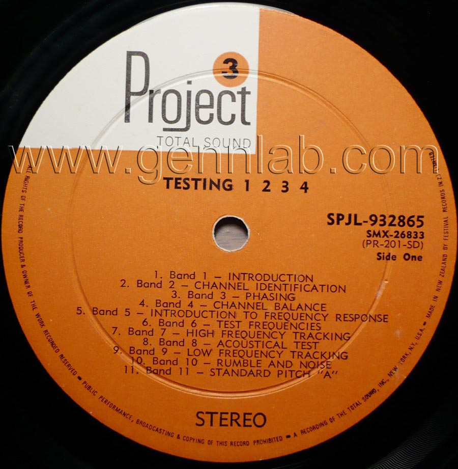 Project 3 TESTING 1-2-3-4 STEREO TEST RECORD label.Side One