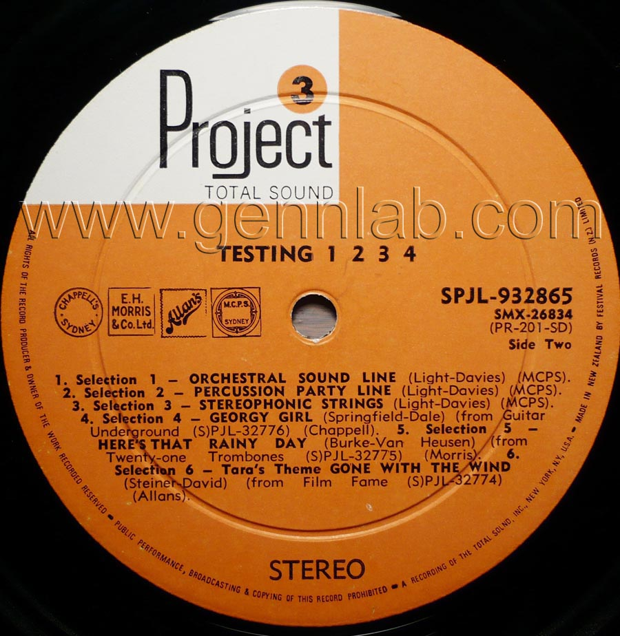 Project 3 TESTING 1-2-3-4 STEREO TEST RECORD label. Side Two
