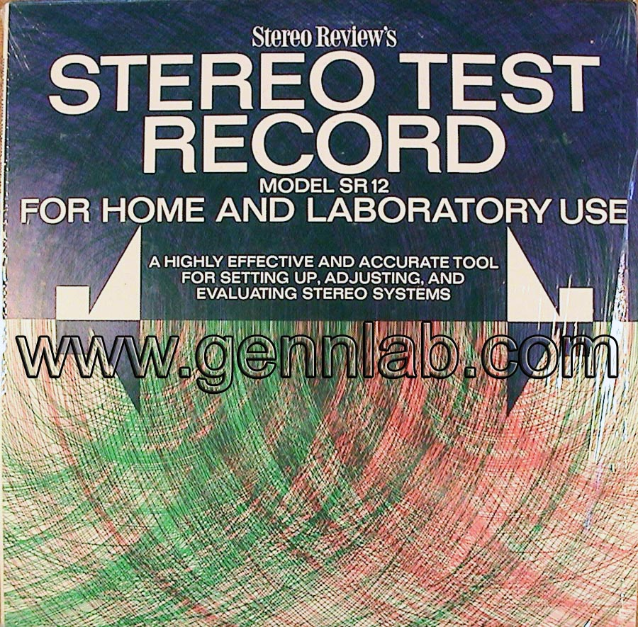 Stereo Review's Model SR12 STEREO TEST RECORD cover. Front Side