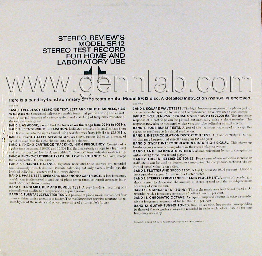 Stereo Review's Model SR12 STEREO TEST RECORD cover. Rear Side