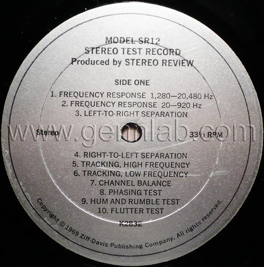 Stereo Review's Model SR12 STEREO TEST RECORD label.Side One