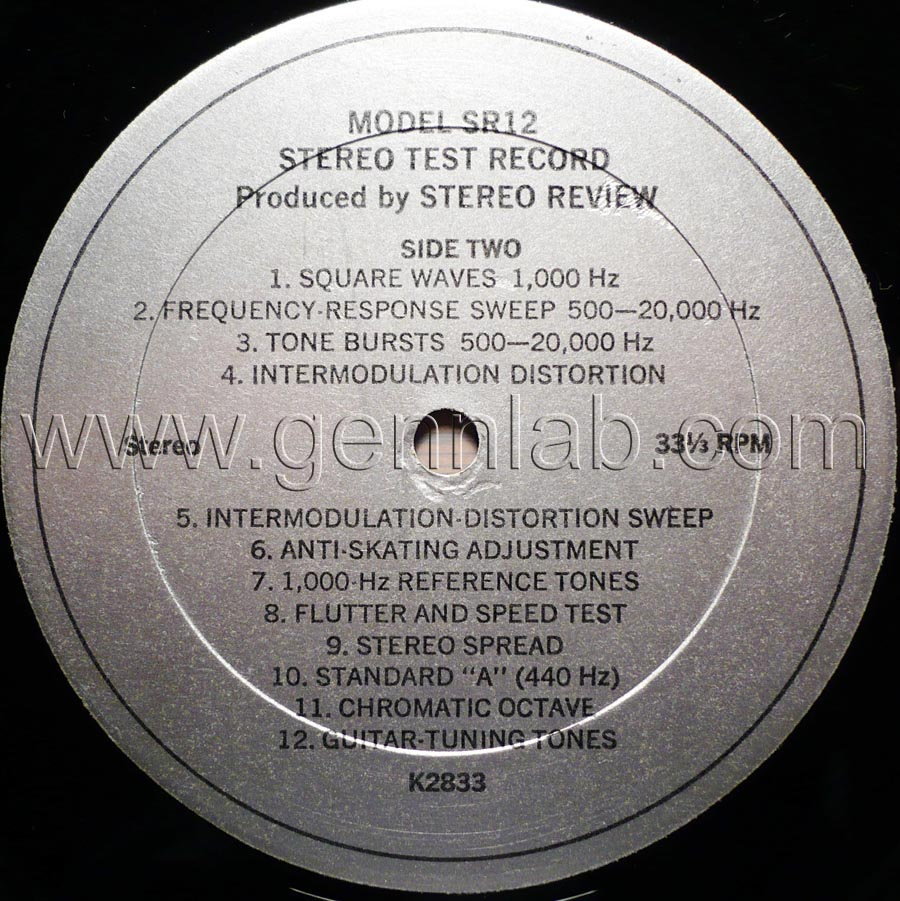 Stereo Review's Model SR12 STEREO TEST RECORD label. Side Two