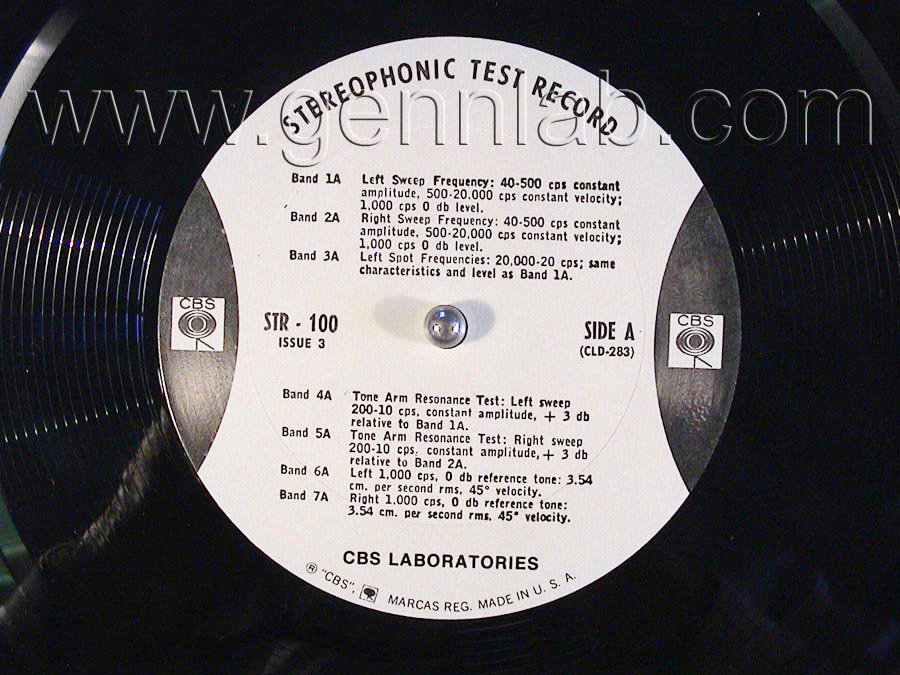CBS LABORATORIES STR100 label. Side A