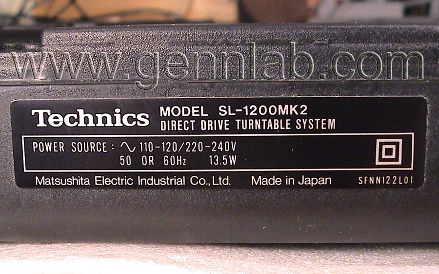 Technics SL-1200MK2 Factory Label