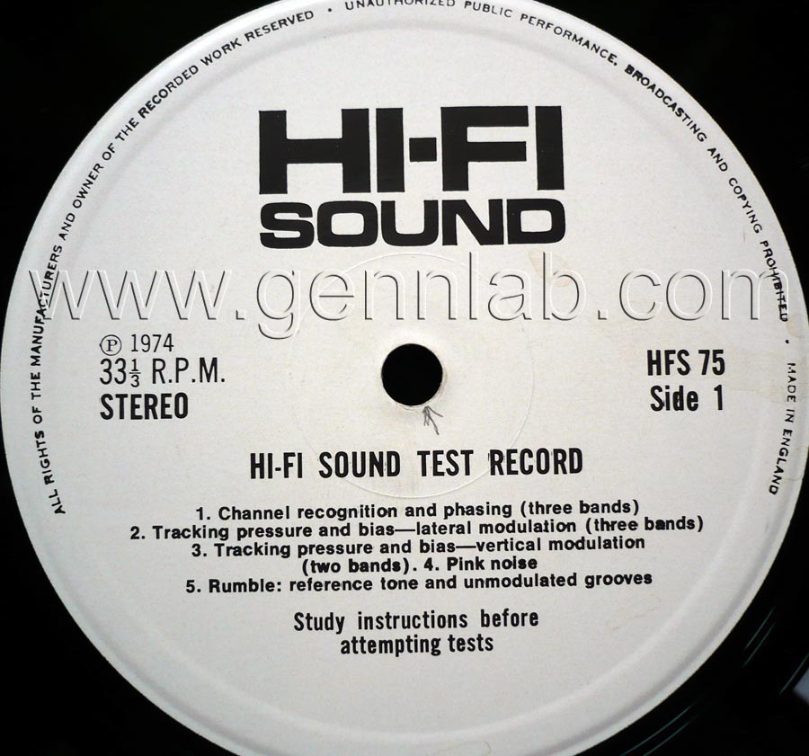 HI-FI SOUND HFS75 STEREO TEST RECORD label.Side 1