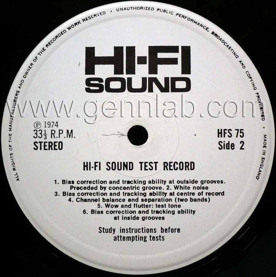 HI-FI SOUND HFS75 STEREO TEST RECORD label. Side 2