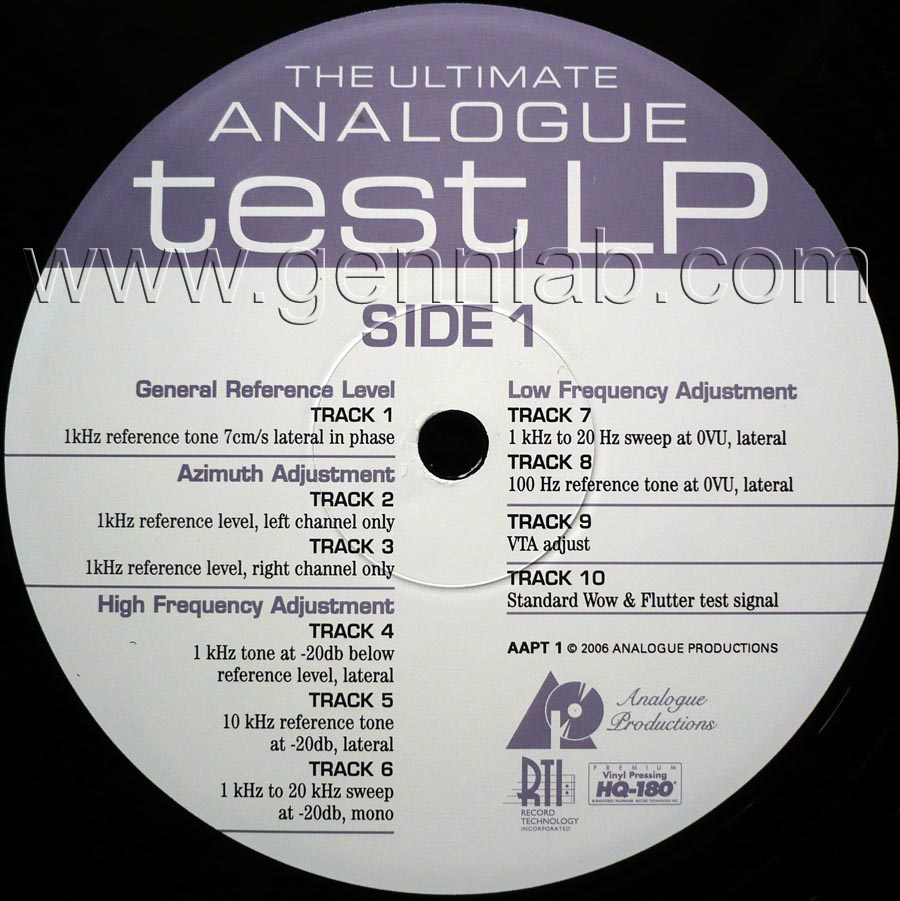 THE ULTIMATE ANALOGUE test LP label. Side 1