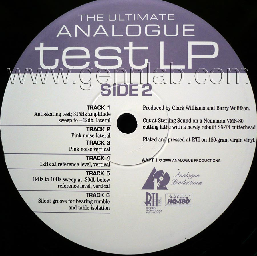 THE ULTIMATE ANALOGUE test LP label. Side 2