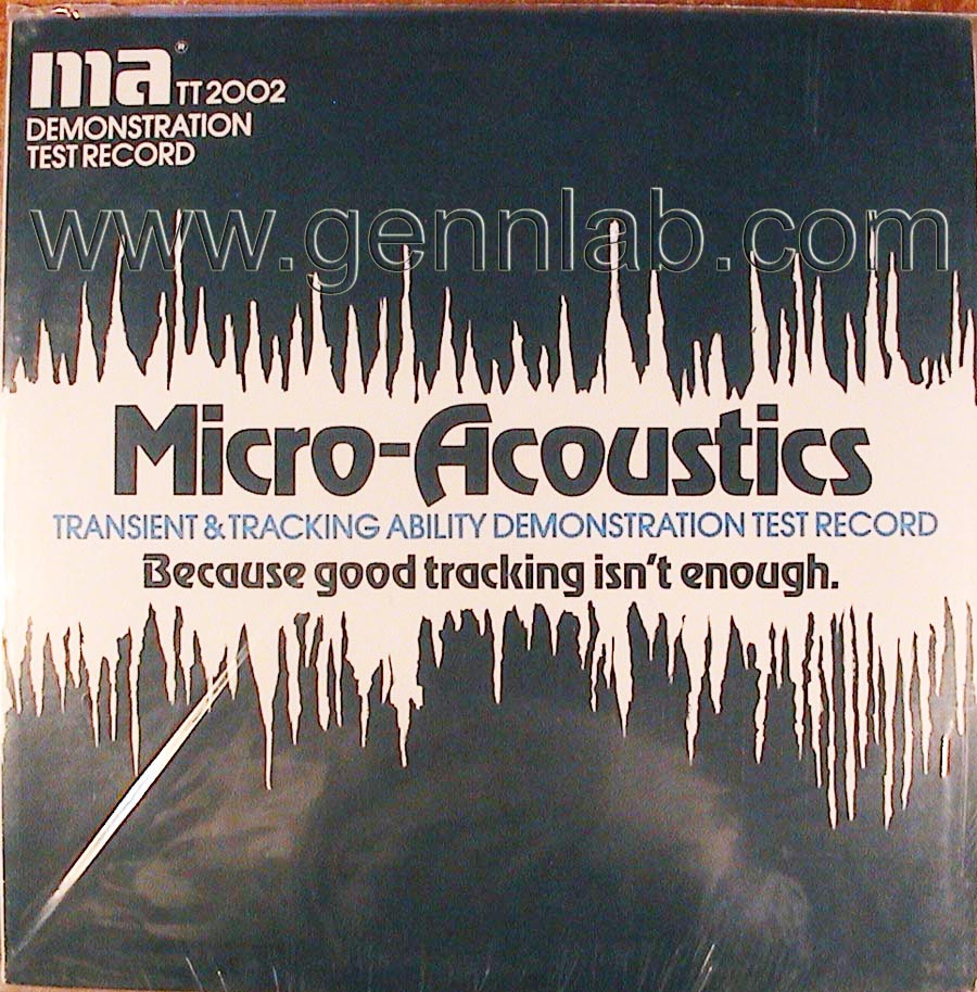 Micro Acoustics TT2002 DEMONSTRATION TEST RECORD cover. Front Side