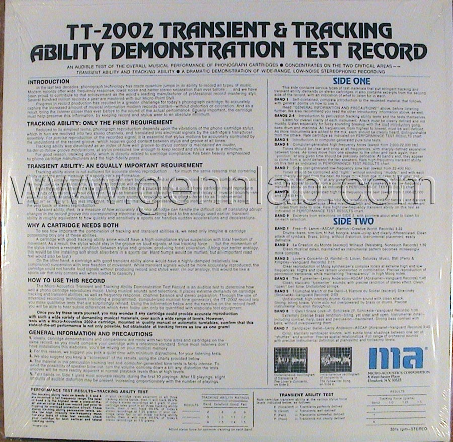 Micro Acoustics TT2002 DEMONSTRATION TEST RECORD cover. Rear Side