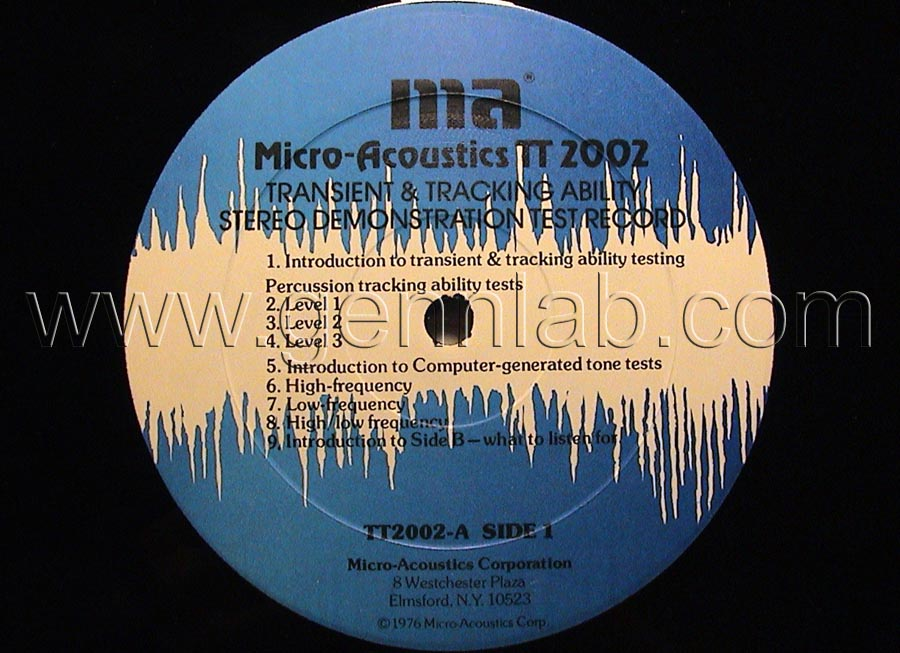 Micro Acoustics TT2002 DEMONSTRATION TEST RECORD label. Side 1