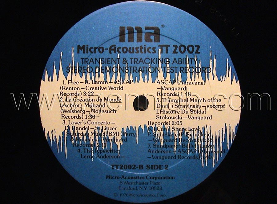 Micro Acoustics TT2002 DEMONSTRATION TEST RECORD label. Side 2