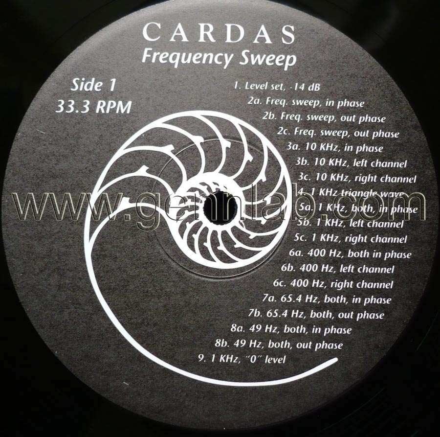 CARDAS Frequency Sweep and 'Burn-In' Record label. Side 1