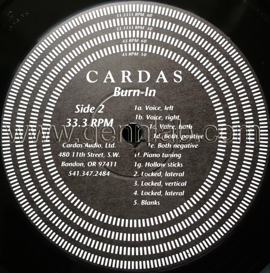 CARDAS Frequency Sweep and 'Burn-In' Record label. Side 2