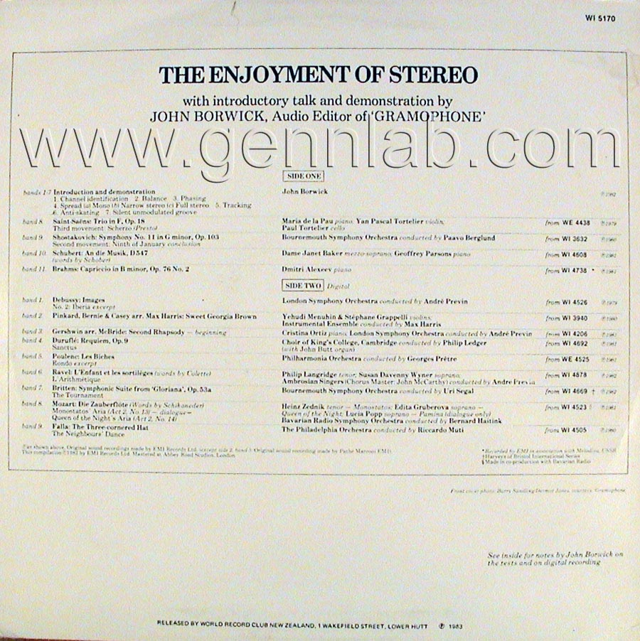 EMI The Enjoiment of STEREO Record cover. Rear Side